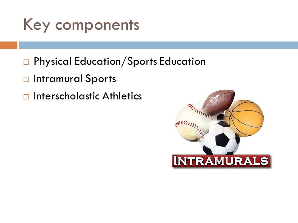 Key components Physical Education/Sports Education Intramural Sports