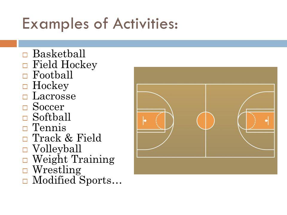 Examples of Activities: