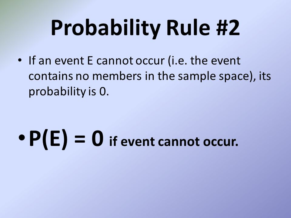 P(E) = 0 if event cannot occur.