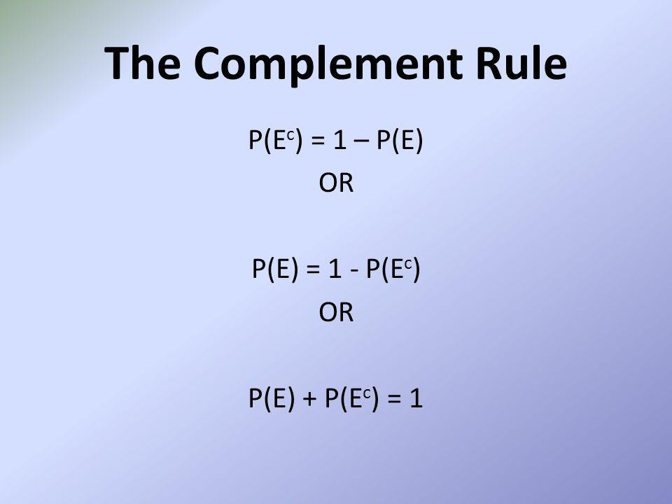 P(Ec) = 1 – P(E) OR P(E) = 1 - P(Ec) P(E) + P(Ec) = 1