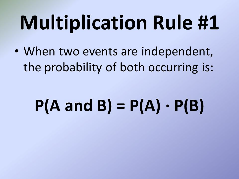 Multiplication Rule #1 P(A and B) = P(A) ∙ P(B)