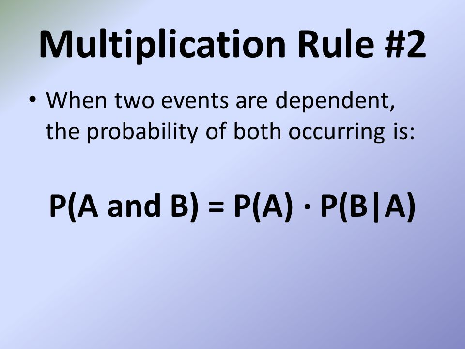 P(A and B) = P(A) ∙ P(B|A)
