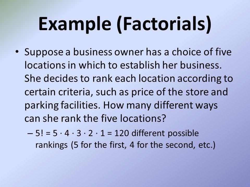 Example (Factorials)
