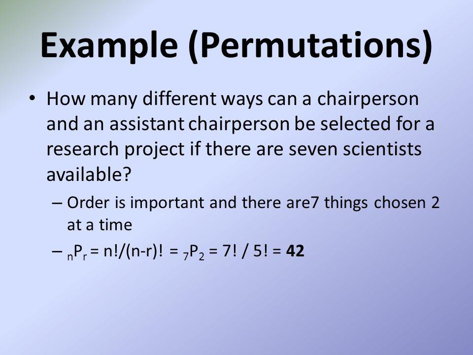 Example (Permutations)