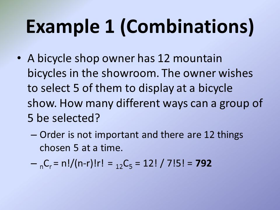 Example 1 (Combinations)