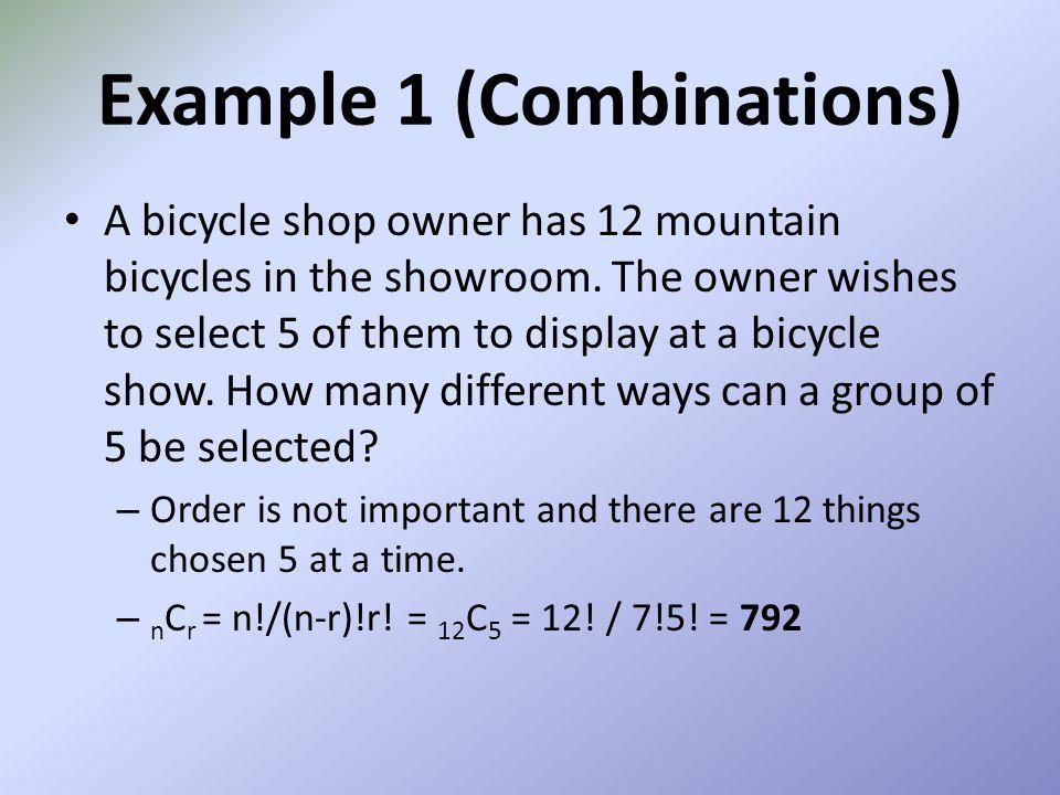 Example 1 (Combinations)