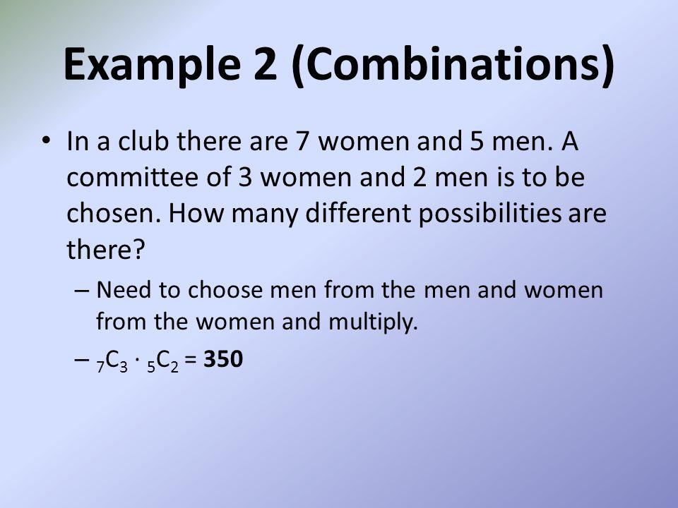 Example 2 (Combinations)