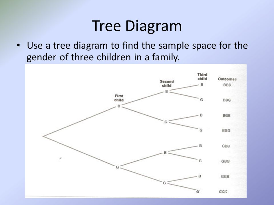 Tree Diagram Use a tree diagram to find the sample space for the gender of three children in a family.