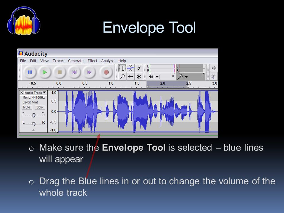 Envelope Tool Make sure the Envelope Tool is selected – blue lines will appear.