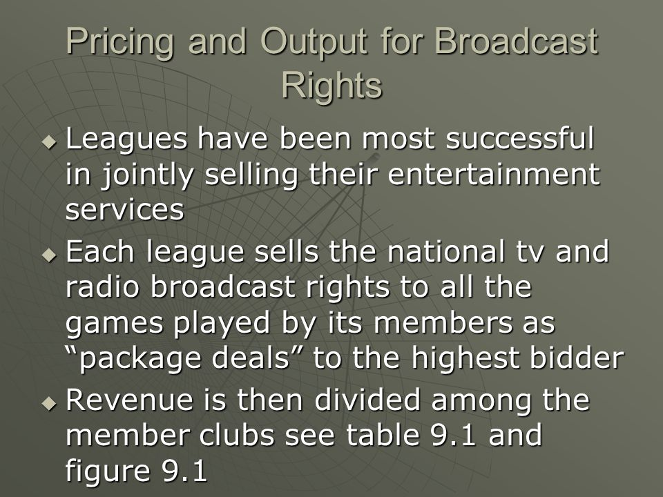 Pricing and Output for Broadcast Rights
