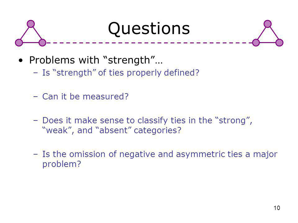 Questions Problems with strength …