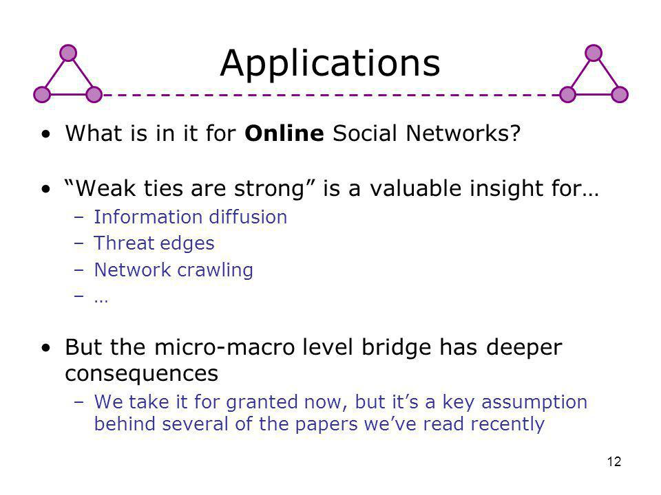 Applications What is in it for Online Social Networks