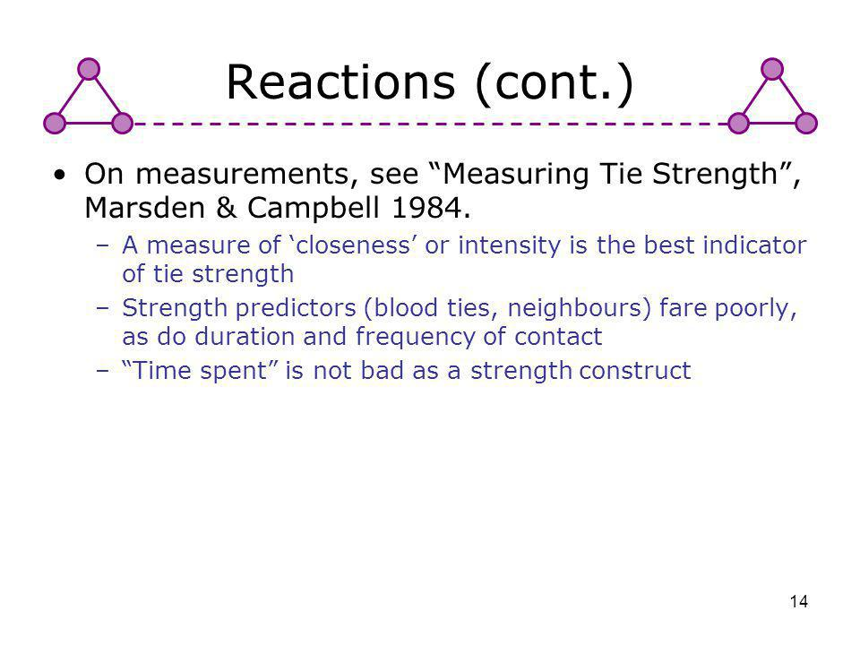 Reactions (cont.) On measurements, see Measuring Tie Strength , Marsden & Campbell 1984.