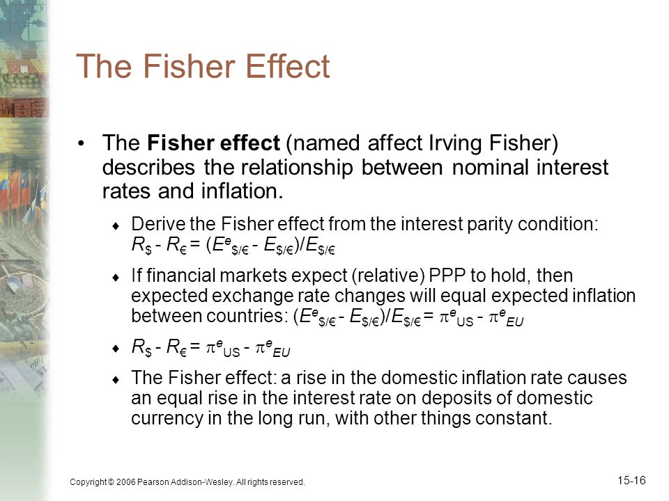 The Fisher Effect The Fisher effect (named affect Irving Fisher) describes the relationship between nominal interest rates and inflation.