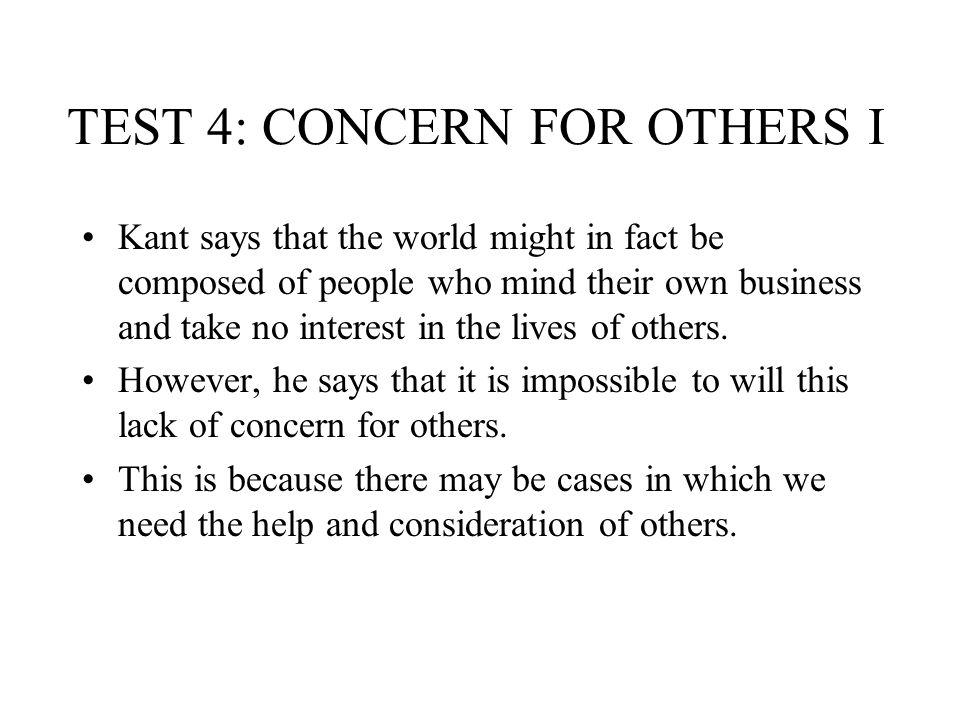 TEST 4: CONCERN FOR OTHERS I