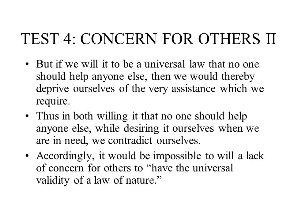 TEST 4: CONCERN FOR OTHERS II