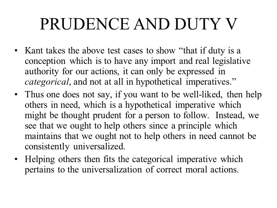 PRUDENCE AND DUTY V