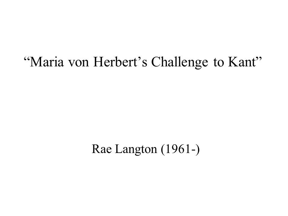Maria von Herbert's Challenge to Kant