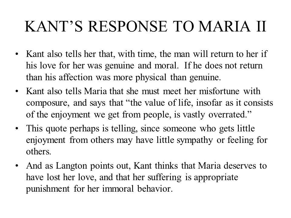 KANT'S RESPONSE TO MARIA II