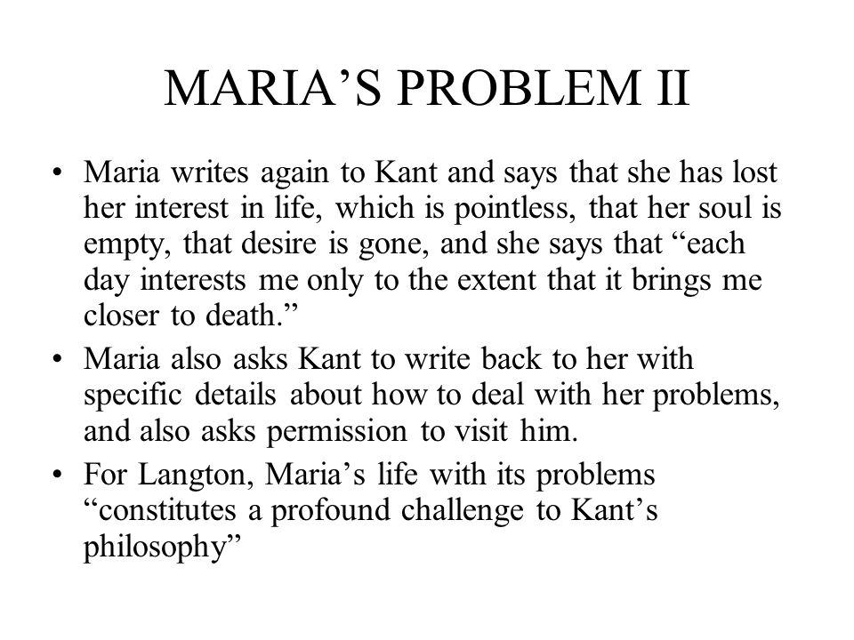 MARIA'S PROBLEM II