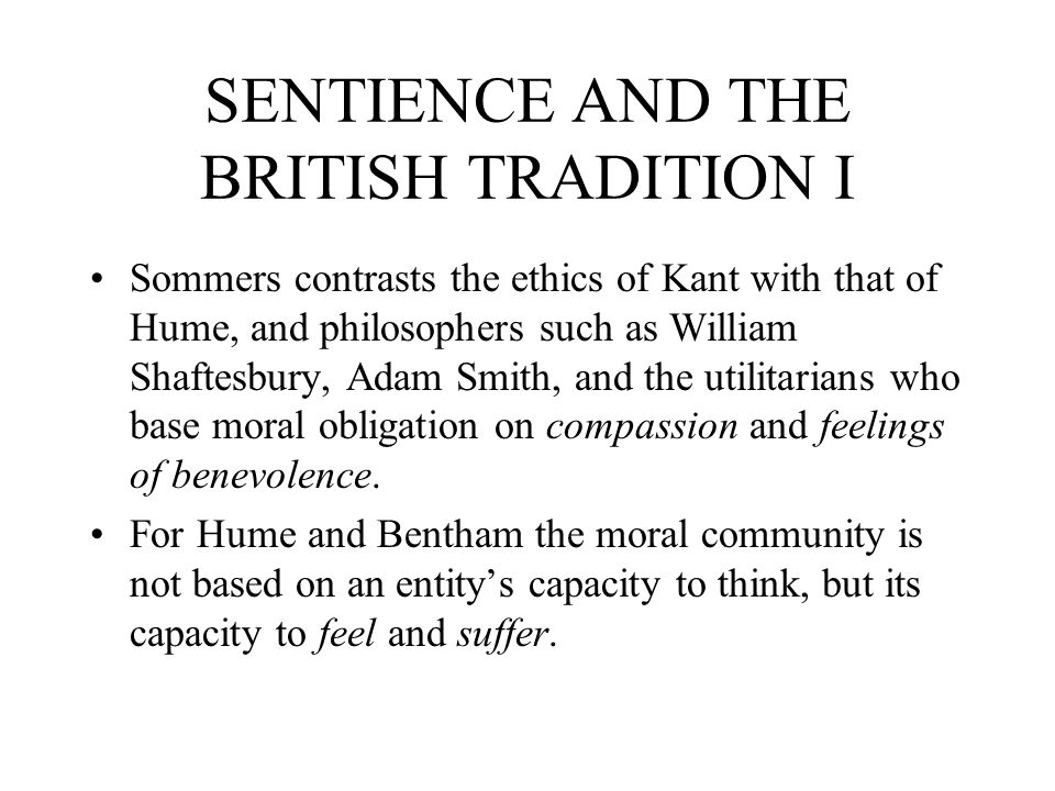 SENTIENCE AND THE BRITISH TRADITION I