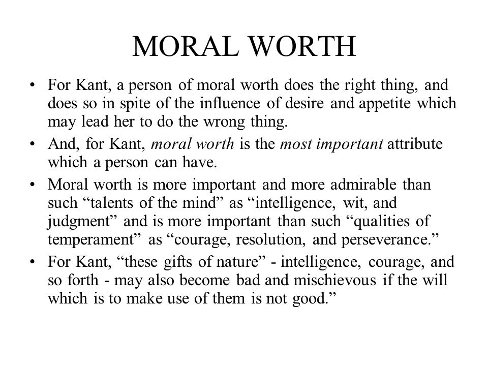 MORAL WORTH