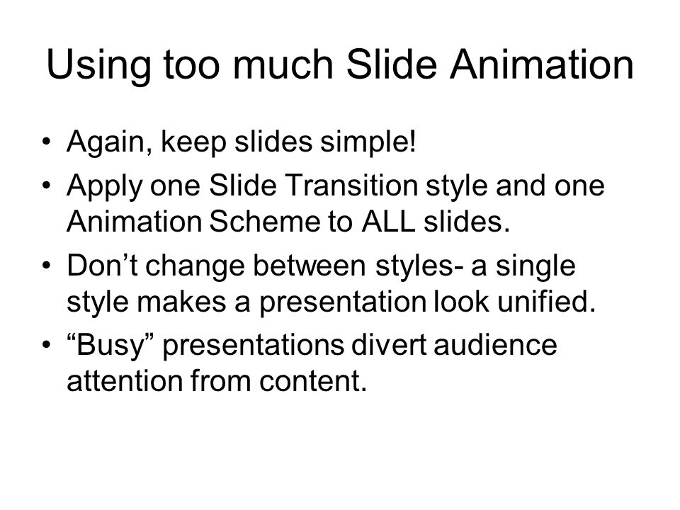 Using too much Slide Animation