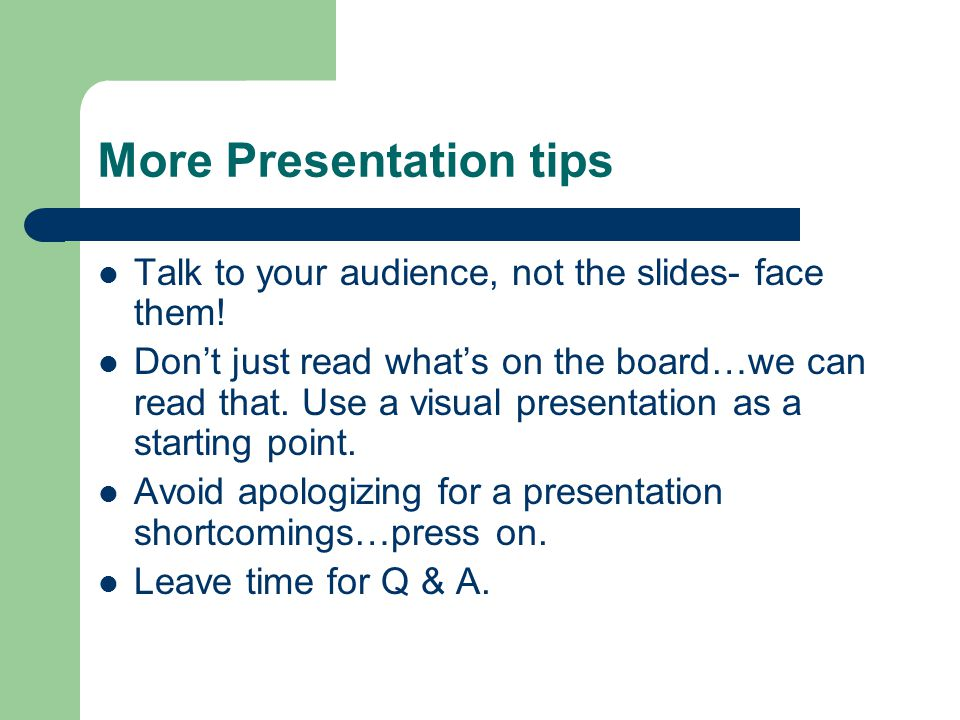 More Presentation tips