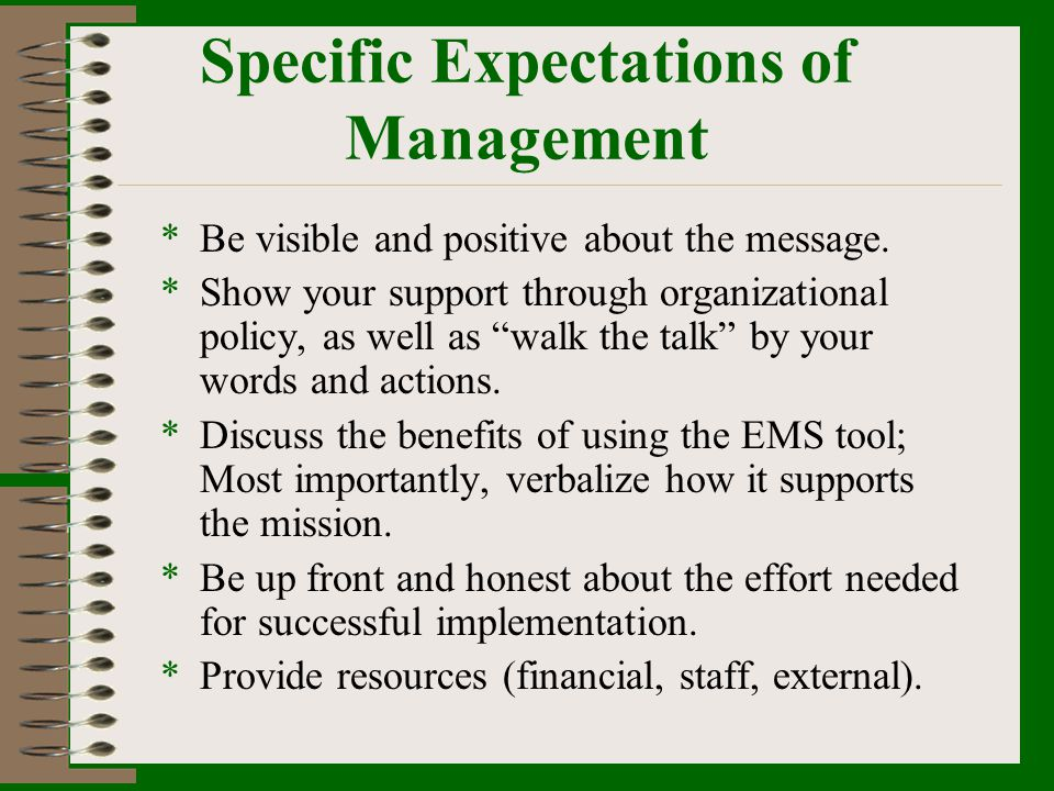 Specific Expectations of Management