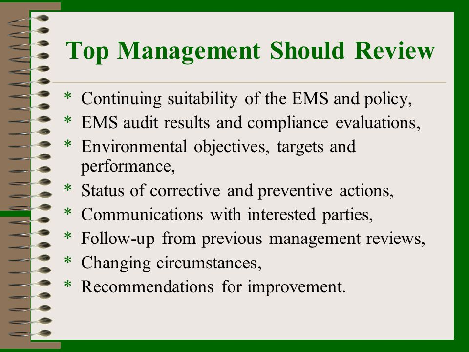 Top Management Should Review