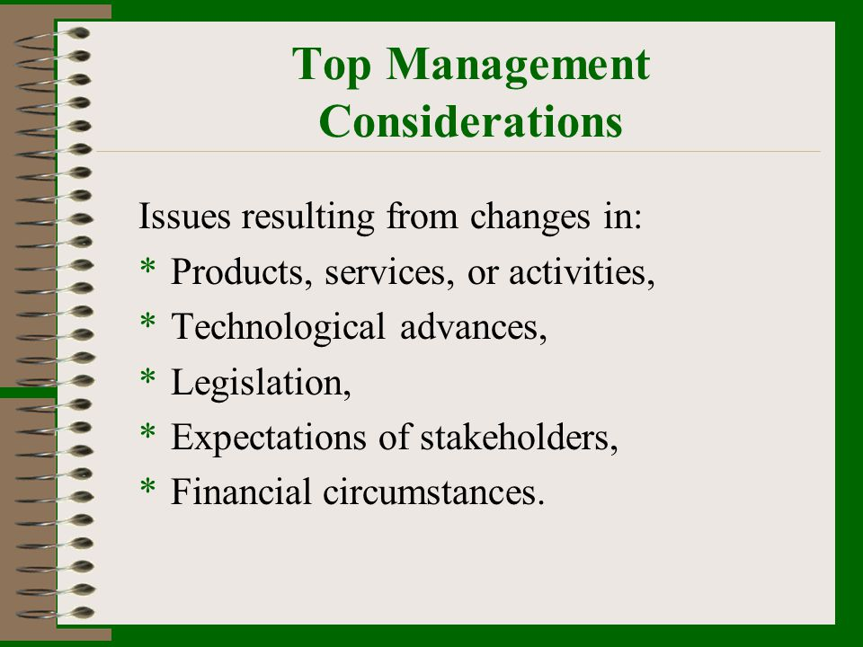 Top Management Considerations