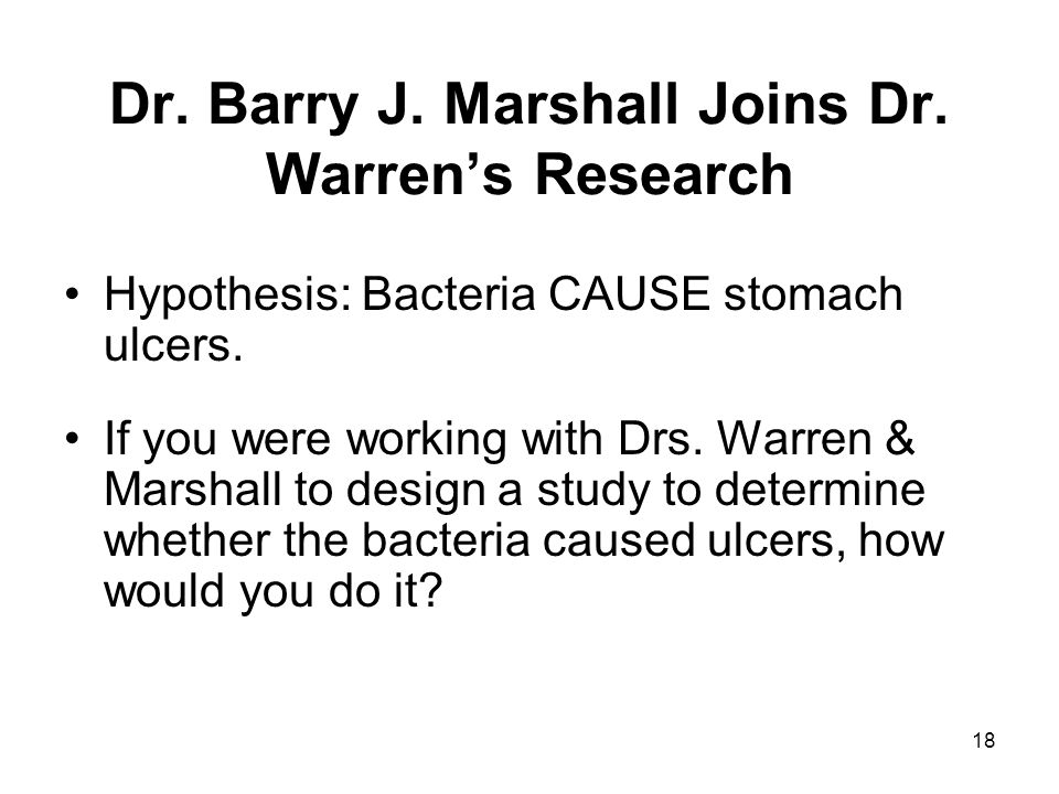 Dr. Barry J. Marshall Joins Dr. Warren's Research