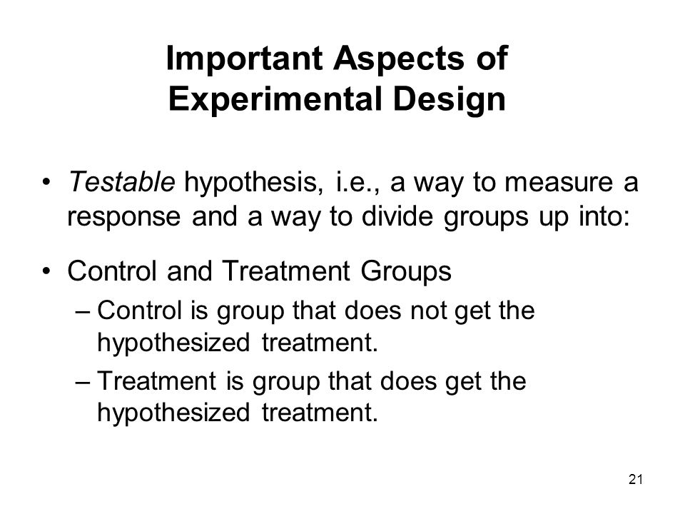 Important Aspects of Experimental Design