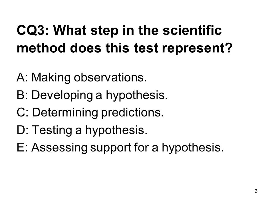 CQ3: What step in the scientific method does this test represent