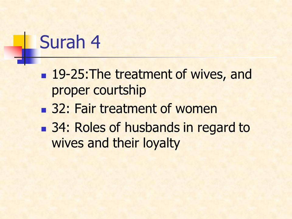 Surah 4 19-25:The treatment of wives, and proper courtship