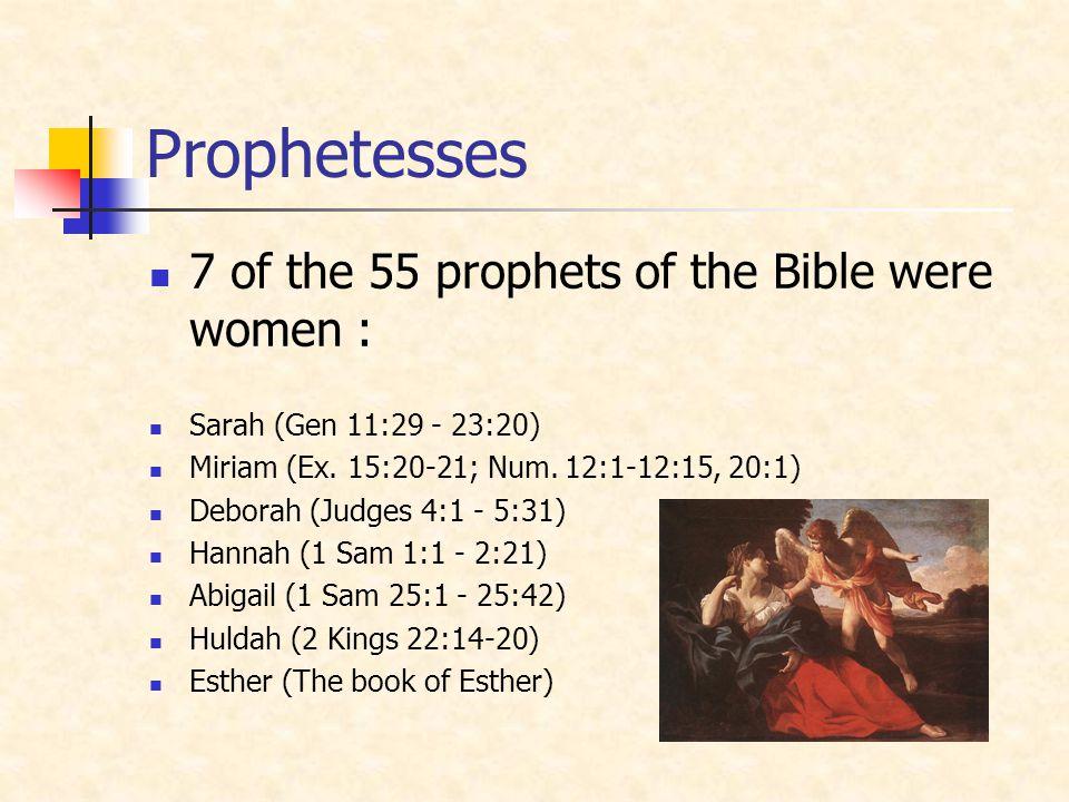 Prophetesses 7 of the 55 prophets of the Bible were women :