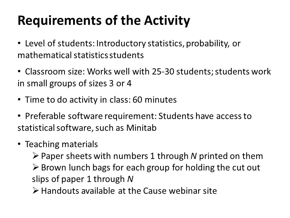 Requirements of the Activity