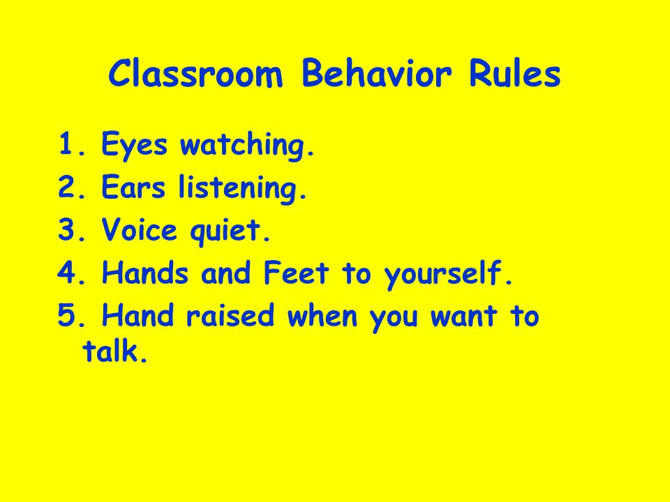 Classroom Behavior Rules