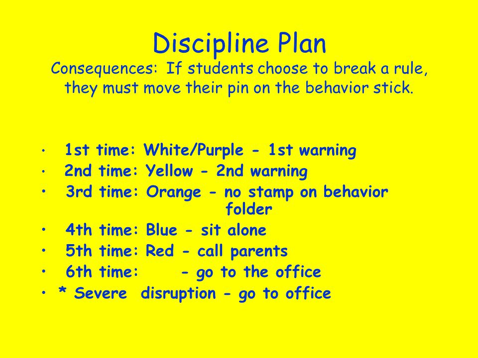 Discipline Plan Consequences: If students choose to break a rule, they must move their pin on the behavior stick.
