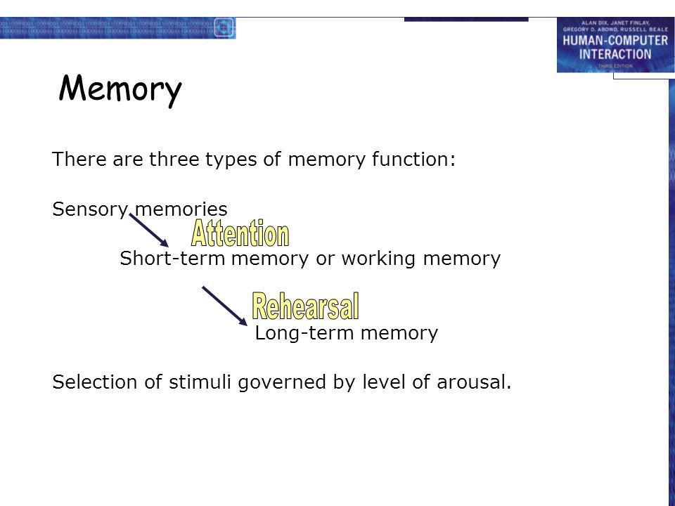 Memory There are three types of memory function: Sensory memories