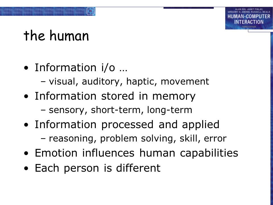 the human Information i/o … Information stored in memory