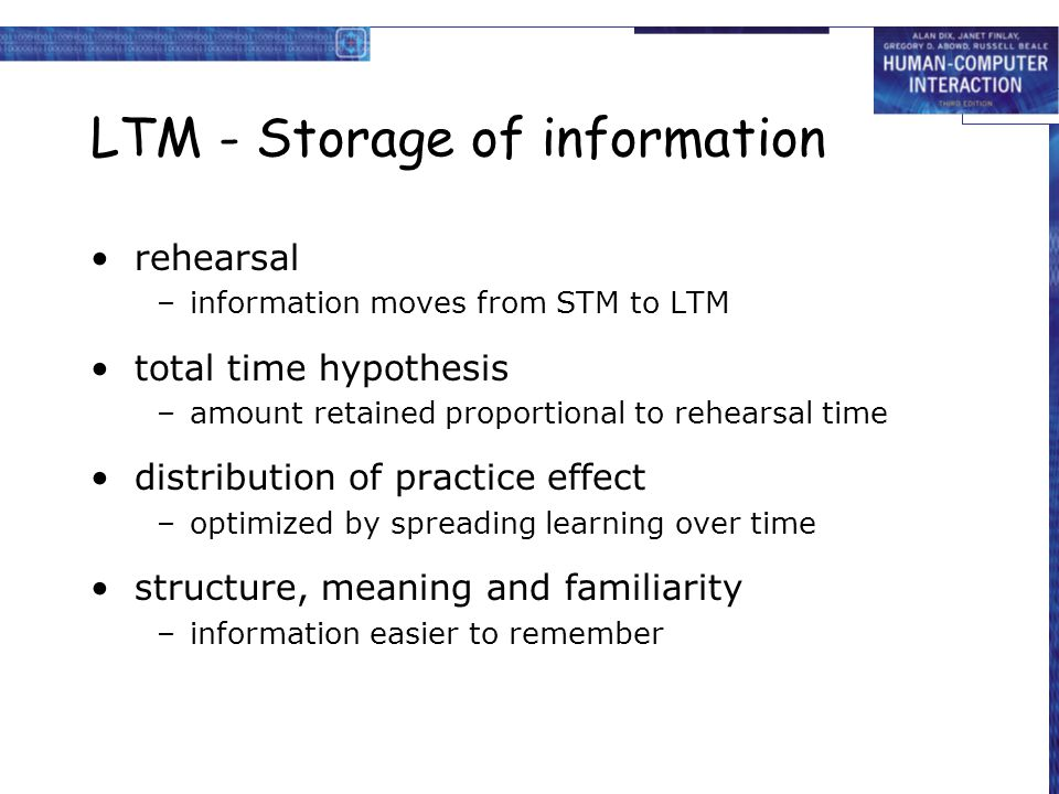 LTM - Storage of information