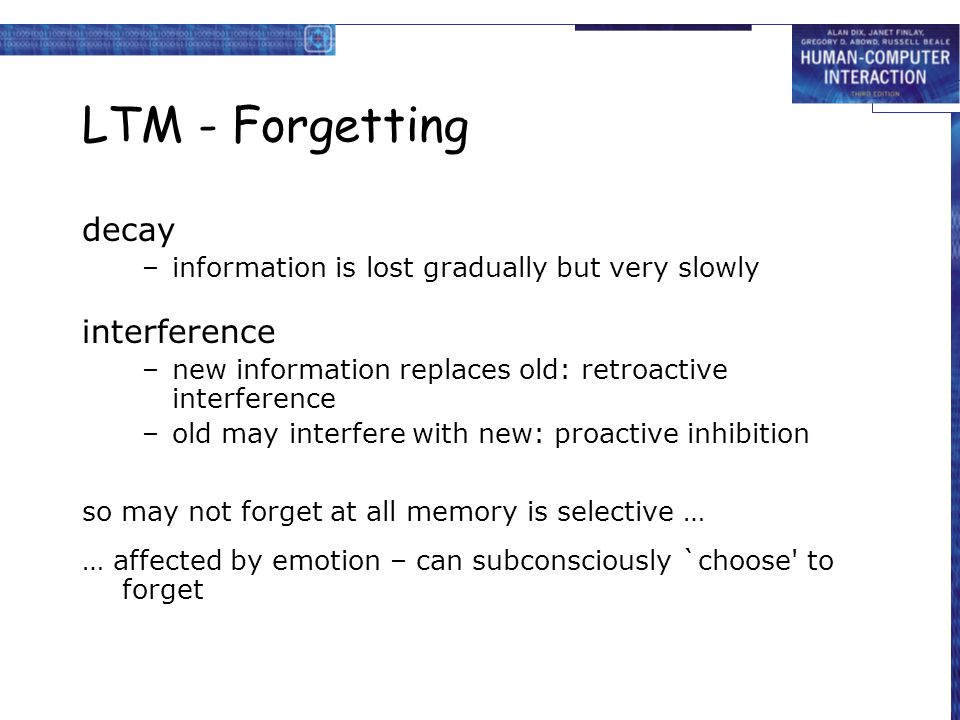 LTM - Forgetting decay interference