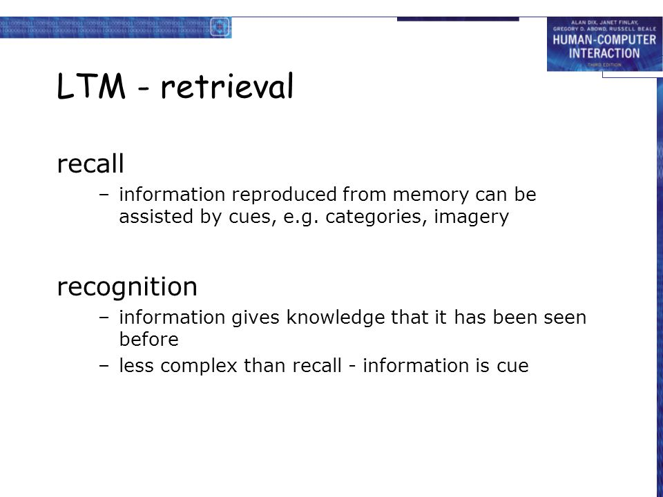 LTM - retrieval recall recognition