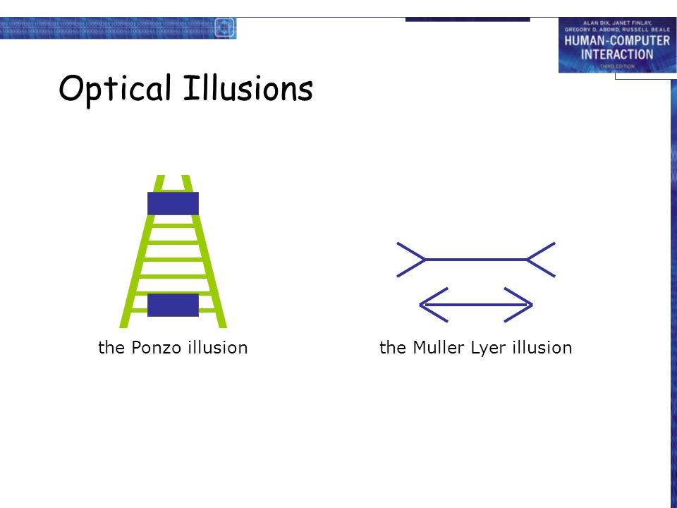 Optical Illusions the Ponzo illusion the Muller Lyer illusion