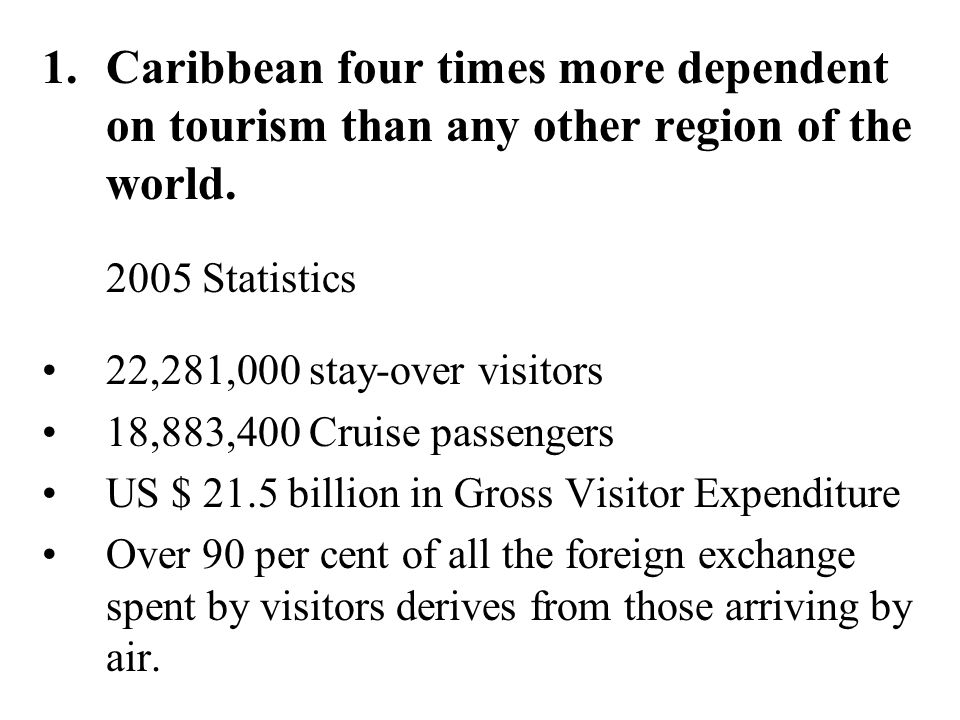 Caribbean four times more dependent on tourism than any other region of the world.