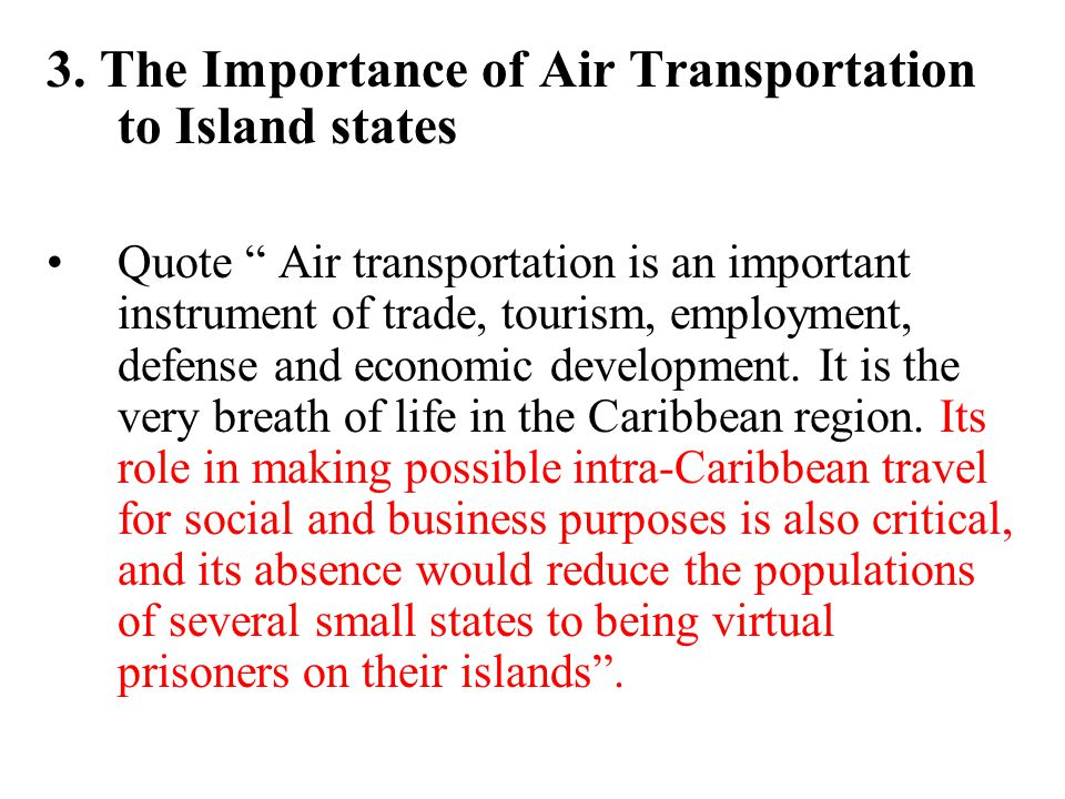3. The Importance of Air Transportation to Island states