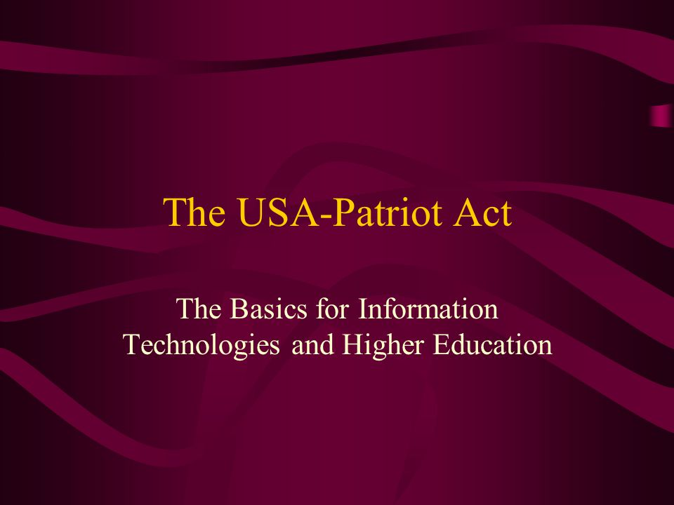 The Basics for Information Technologies and Higher Education