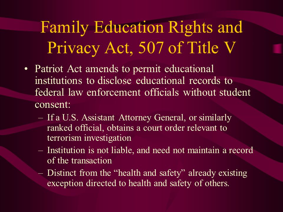 Family Education Rights and Privacy Act, 507 of Title V