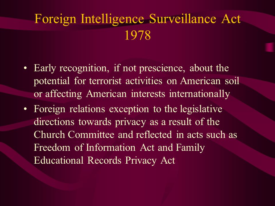 Foreign Intelligence Surveillance Act 1978